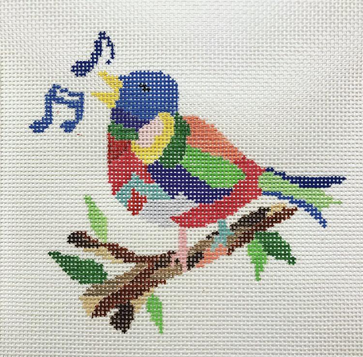 "Four Colly Birds CP-2D   4"" x 4.5"" on 18 mesh"