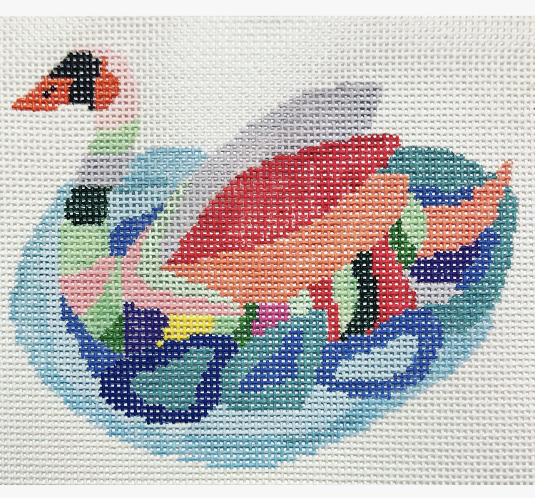 """Seven Swans A-swimming CP-2G   3.5"""" x 4.5"""" on 18 mesh"""