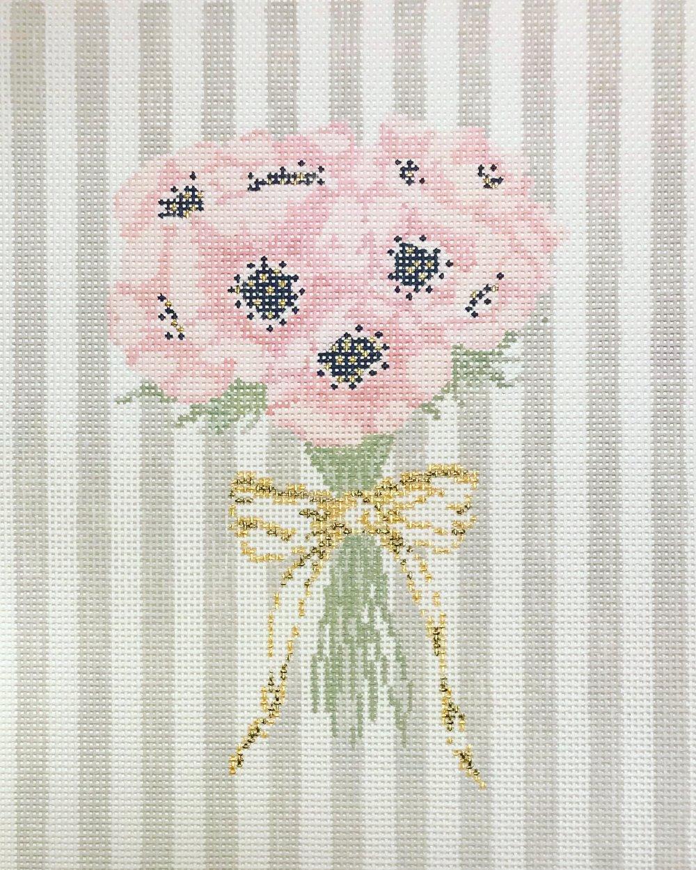 "Blushing Bouquet 15UU   11"" x 8"" on 13 mesh"