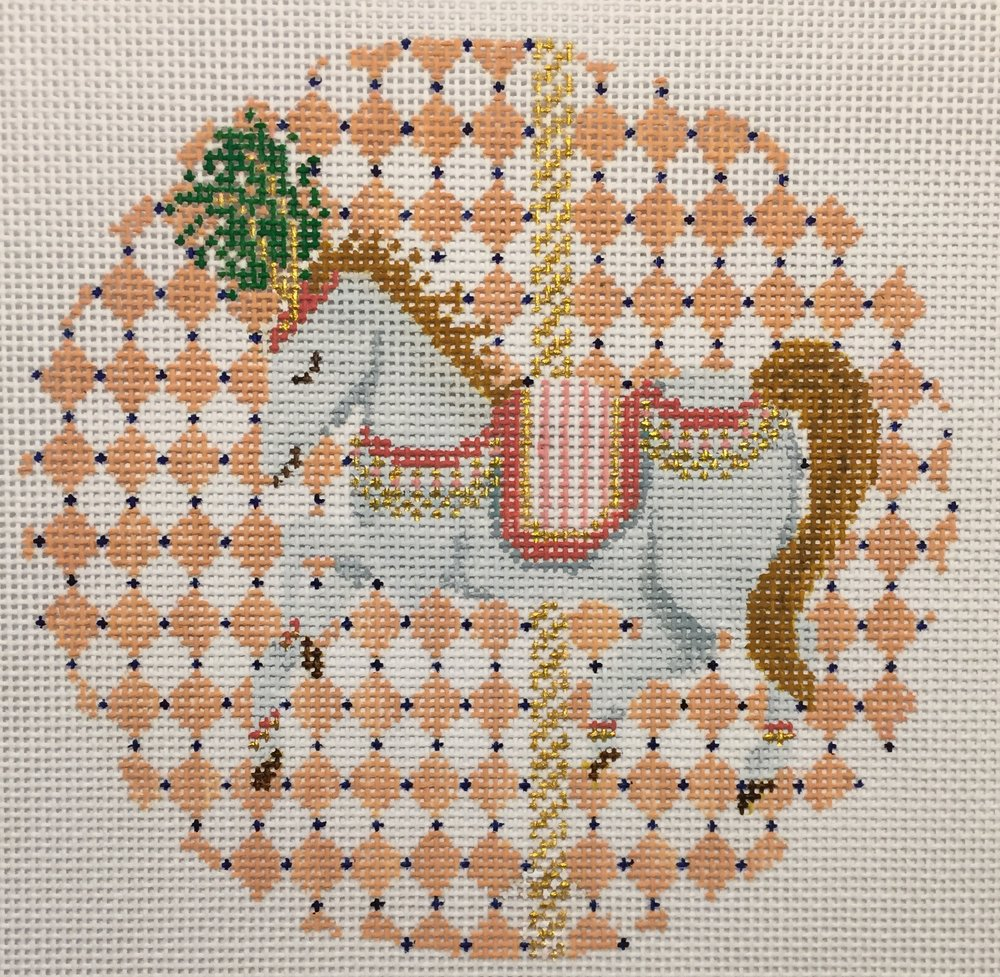 "Carousel Horse 18C   5"" round on 18 mesh"