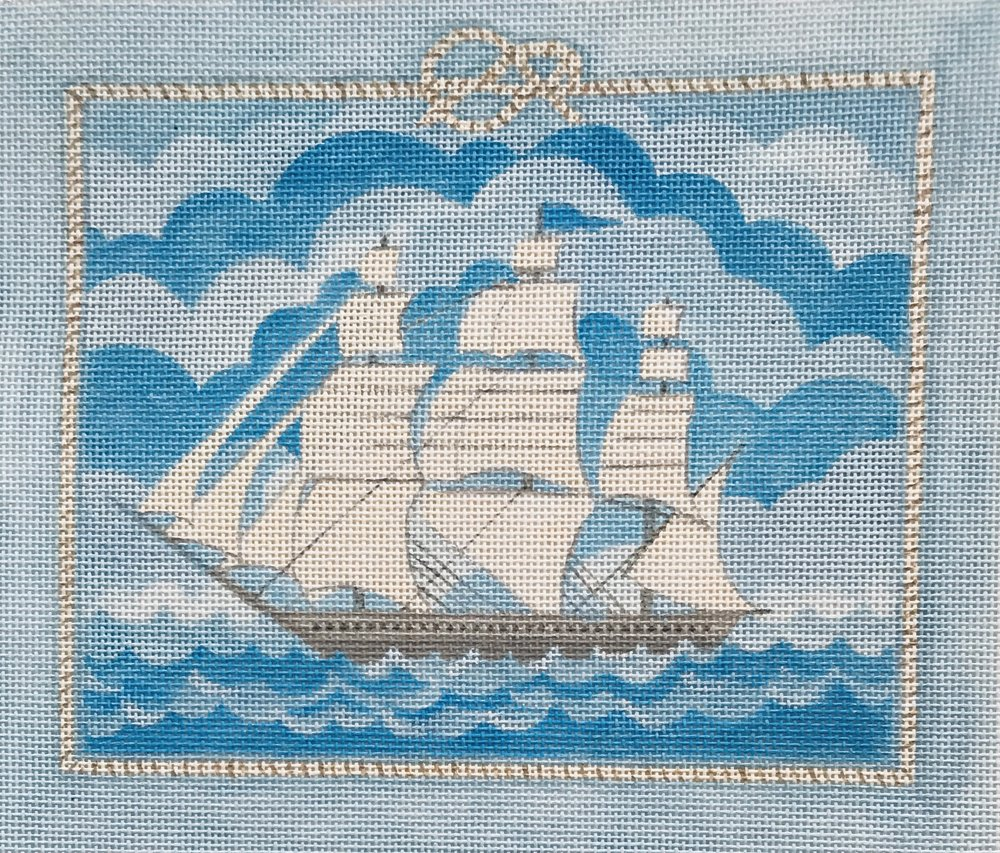"Nantucket Whaler with Rope Border TSG9   8.5"" x 7.25"""