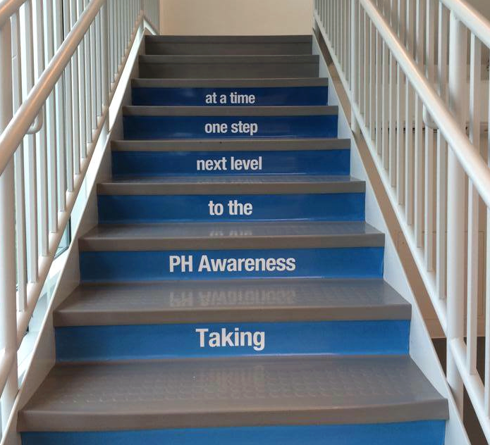 phaware sponsor Bayer Step Up for PH staircase at their national headquarters.