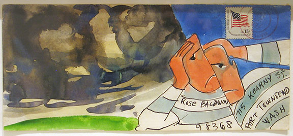 Clayton Lewis    Splitting Headache,  c. 1982 Mixed media on paper envelope 4.25 x 9.5 inches       For More Information