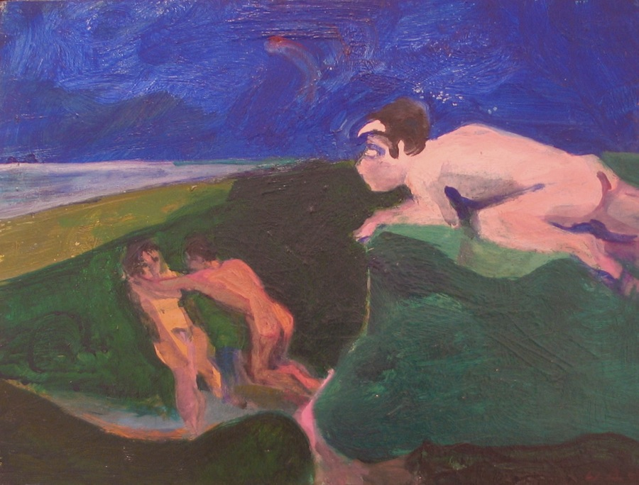 William Theophilus Brown     A Satyr Watching Actis and Galatea,   1963 Oil on panel 12 x 16 inches       For More Information     Artist Biography, Exhibitions & Collections