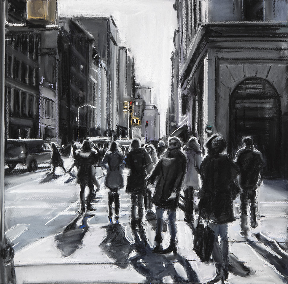 Susan Grossman      Corner Crowd,   2016 Charcoal & pastel on artist board 20 x 20 inches