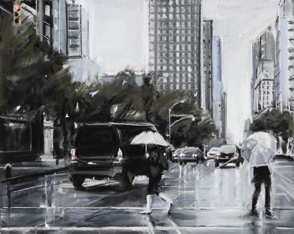 Susan Grossman      Street Reflection,   2016 Charcoal & pastel on artist board 20 x 25 inches