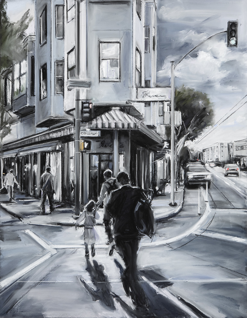 Susan Grossman    Heading Home, North Beach,   2016 Charcoal & pastel on artist board 45 x 35 inches