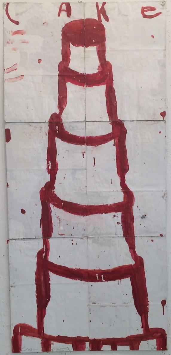 Gary Komarin   Cake Blood Red, 2016 Mixed media 53 x 24 inches