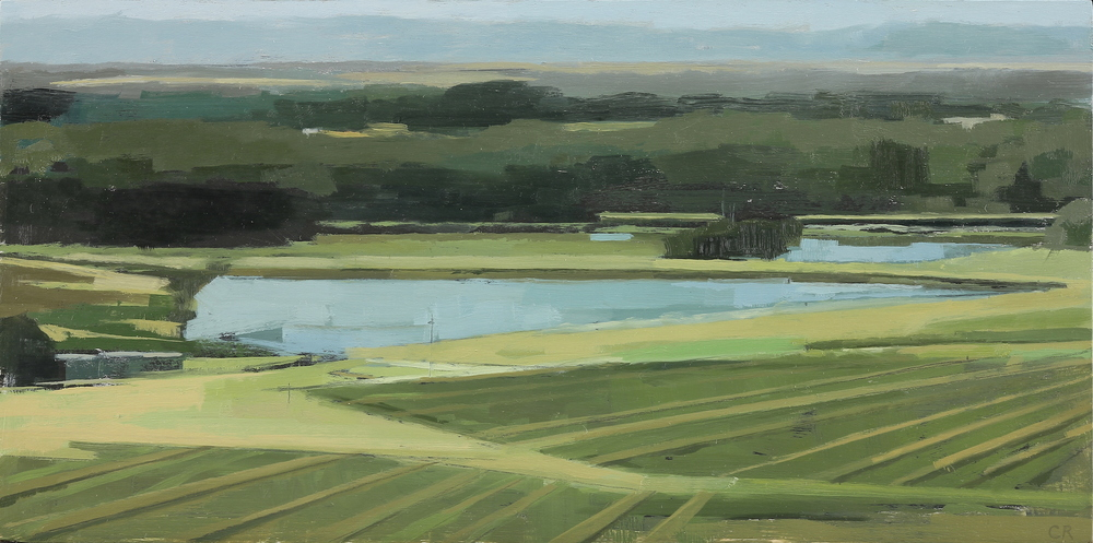 Claudia Rilling   Vineyard Diagonals,  2015 Oil on panel 6 x 12 inches