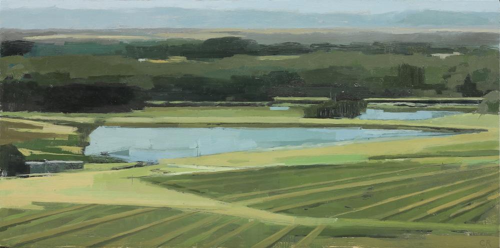 Claudia Rilling   Vineyard Diagonals, 2015 Oil on panel 6 x 12 inches