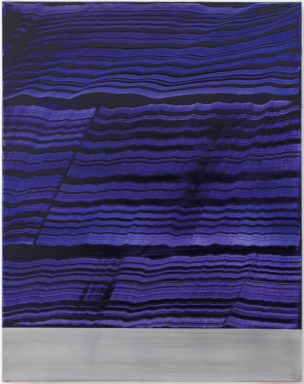 Ricardo Mazal    Violet Blue & Grey Band 2,  2017 Oil on linen 46 x 36 inches       For More Information     Artist Biography, Exhibitions & Collections