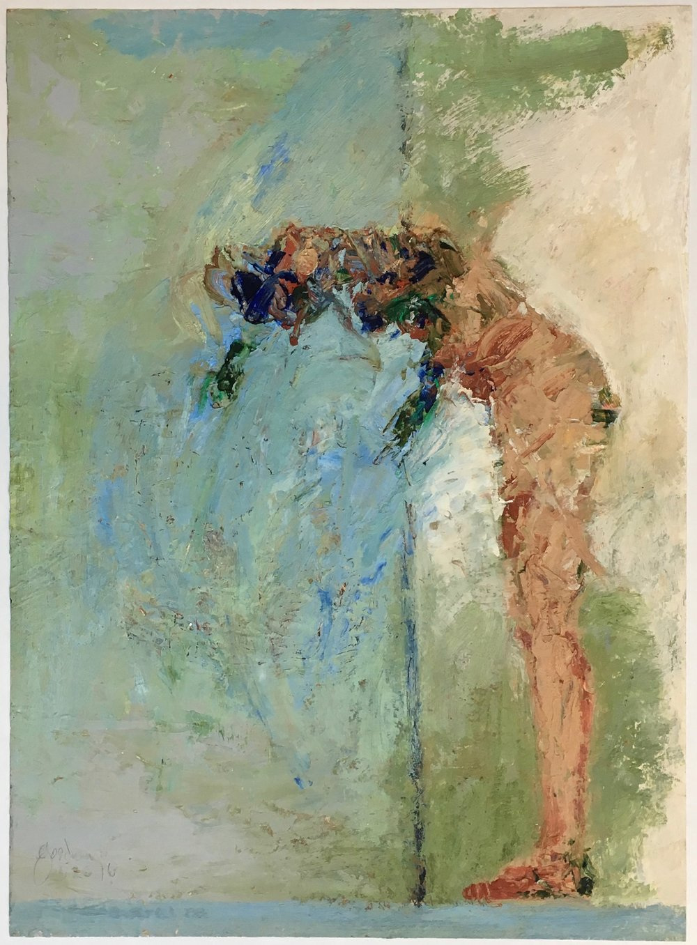 John Goodman     Bowing Figure #1,   2016 Oil & Mixed Media on Panel 30 x 22 inches       For More Information     Artist Biography, Exhibitions & Collections