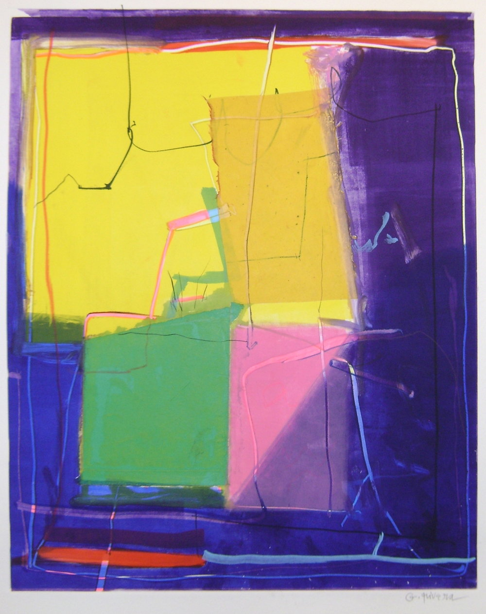Gustavo Ramos Rivera     Untitled GR 05-6007,  2017 Mixed media monoprint on paper 20 x 15-1/2 inches       For More Information     Artist Biography, Exhibitions & Collections