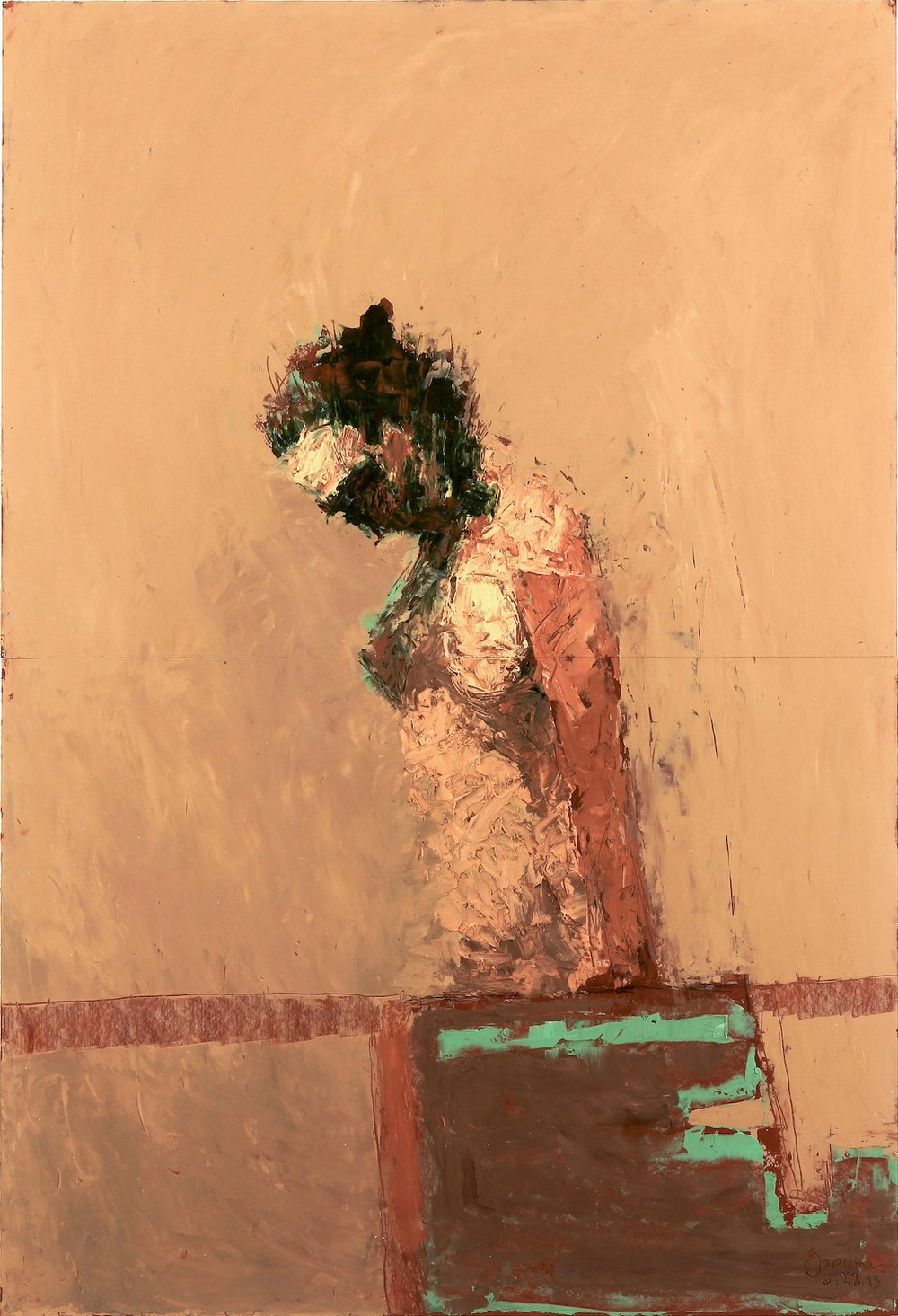 John Goodman     Bowing Figure #8,  2013 Oil & Mixed Media on Panel 44 x 30 inches      For More Information     Artist Biography, Exhibitions & Collections