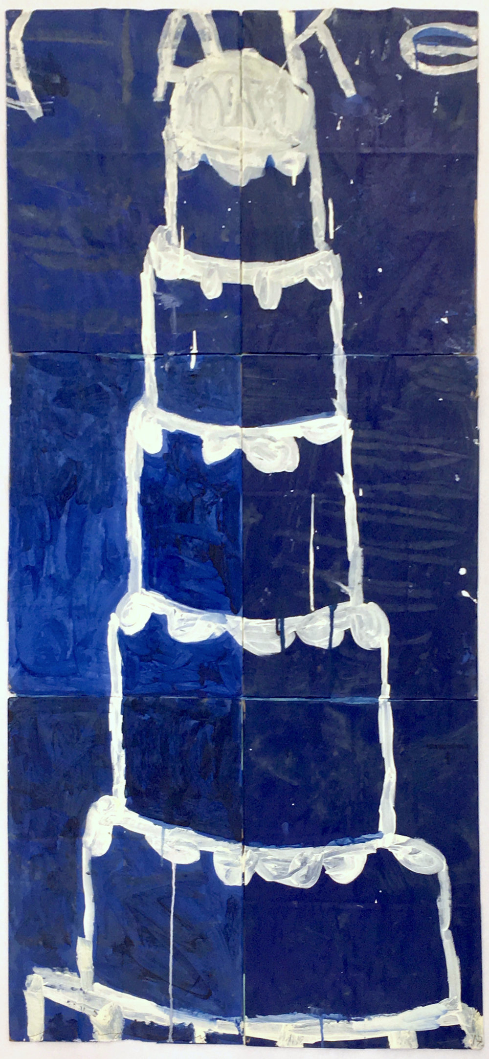 Gary Komarin     Cake - Creme on Blue,   2017 Mixed Media on paper 53 x 24 inches         For More Information    Artist Biography, Exhibitions & Collections