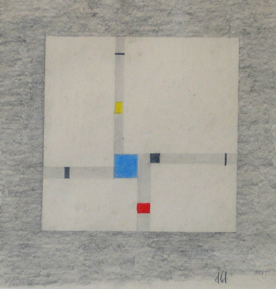 Burgoyne Diller     Second Theme,   1961 Graphite & Prisma color on paper 7-1/2 x 7-1/2 inches         For More Information