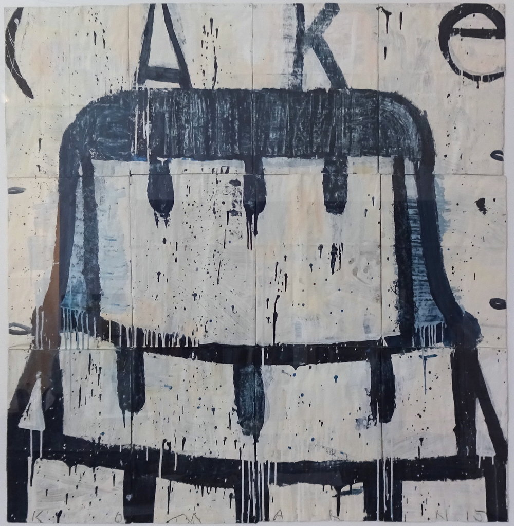 Gary Komarin     Cake - Black on White,   2015 Mixed Media on paper 53 x 48 inches       For More Information    Artist Biography, Exhibitions & Collections