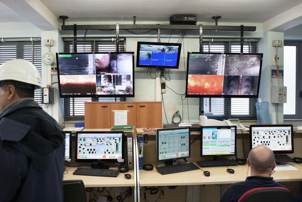 Sala di controllo del termovalorizzatore. I valori sono monitorati e registrati. L'azienda è stata accusata di falsificazione dei valori limite riguardanti le emissioni in atmosfera.Colleferro, novembre 2013