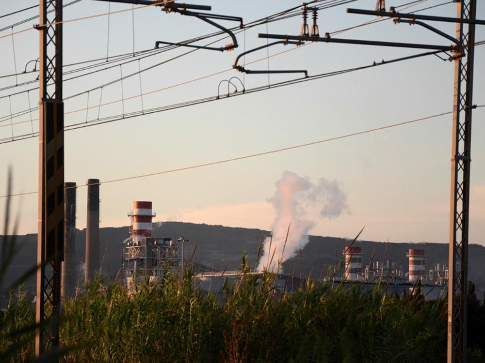 Veduta dello stabilimento Solvay, Rosignano Solvay, 2015