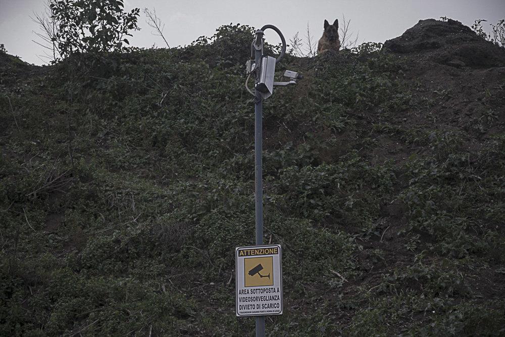 Pianura, Napoli, 2017. Una delle tante videocamere di sorveglianza danneggiate presenti sulla strada che conduce al cratere Senga.