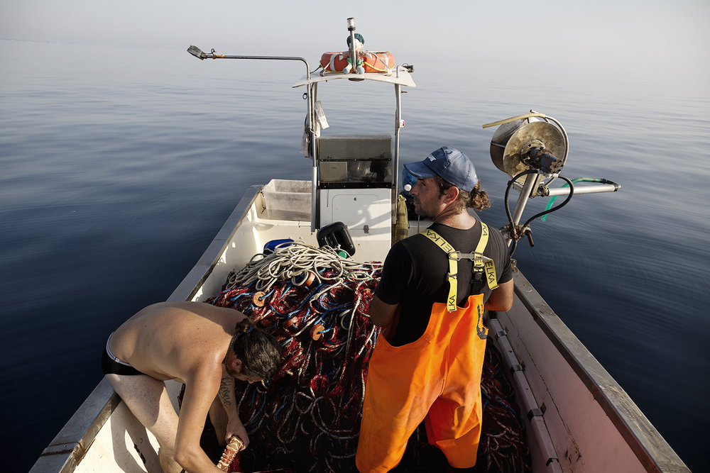 Il gasdotto TAP (Trans Adriatic Pipeline) dovrebbe passare per 105 km nel mar Adriatico. Il tratto interessato è fondamentale per il commercio ittico locale. I pescatori sono preoccupati per i possibili danni al settore turistico e al mercato ittico portati dalla realizzazione dell'opera. Intanto i volontari di Sea Shepard Italia, organizzazione internazionale che si batte per la salvaguardia della biodiversità marina, hanno monitorato costantemente le acque in prossimità dell'exit point, evidenziando anomalie riferite alla distanza del gasdotto dalle praterie di Posidonia oceanica e Cymodocea nodosa, specie protette.  San Foca, Agosto 2017. © Giuseppe Laera