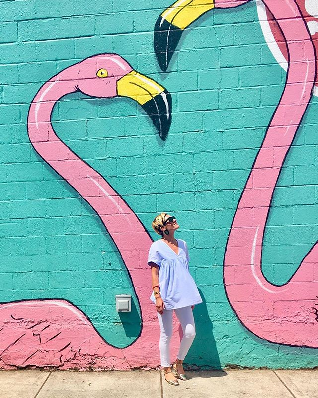 Finding friends everywhere I flaminGO!! #mrsapproved #pdx #flamingo #girlsdayout #flocking #prettyinpink #mrspdx #wallart #mural #portland