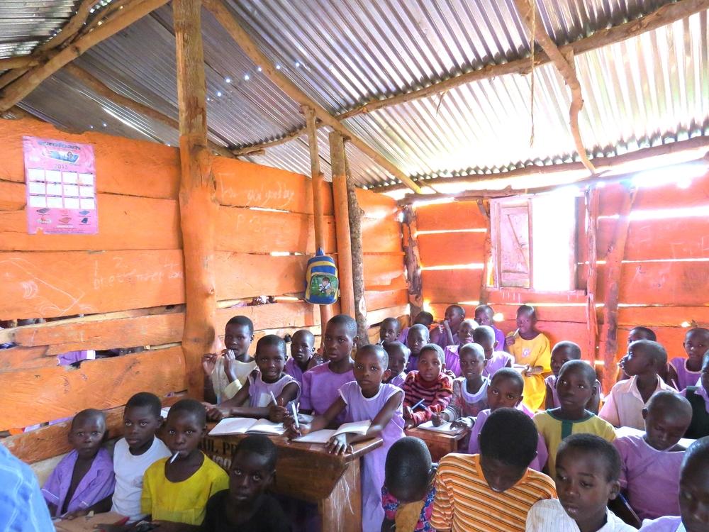 Inside temporary classroom