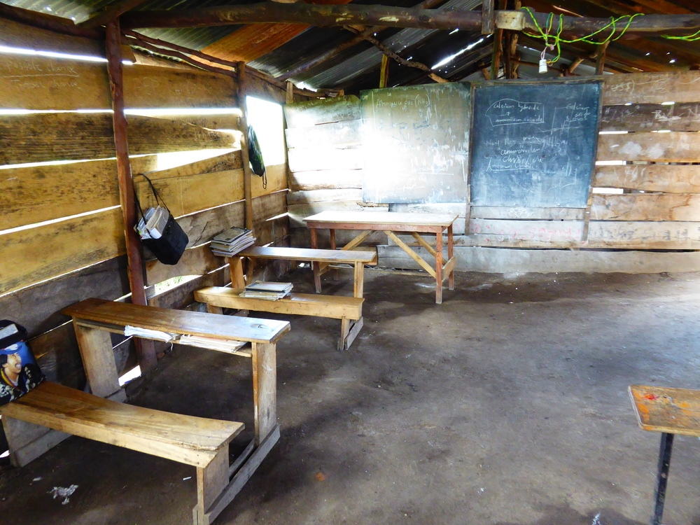Inside one of the wood-slat classrooms