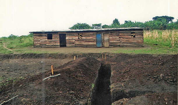 Land being prepared for building at St. Francis Primary School, Kasese, Uganda