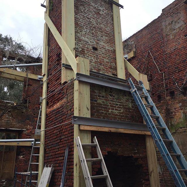 Thanks to tons of supporters, and 4SE, SimonsYoung&Associates and Richard (Moby) Marks Restoration , we have made great progress at Brick House in 2018. Moby is now going to try to stabilize the jack arches and repoint the worst places, but it's fair to say the South wall and one chimney are no longer in danger of crashing down and most of the hard work should be completed by the Spring. THANKS.  J Rutledge Young ,Jr.  President of Brick House Ruins Stabilization , Inc., a 501(c)(3) tax exempt organization .