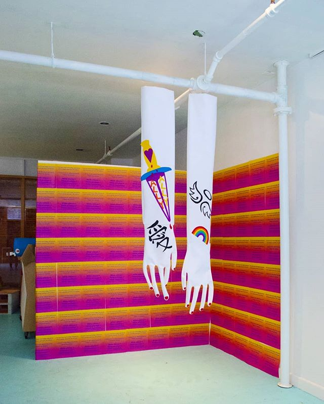 "heyyy, a late post but TODAY is the last day to apply for KREAM residency @khybercentre !! spent a month there in halifax last sept making these felt ""white saviour gloves"", GIF projections and a mini colouring zine. the khyber community is amazing, supportive and v dreamy- (made sure i had a safe place to stay and gave me $$ for making art/travel/living!!). i encourage QTBIPOC folks to apply! details and application link is on their insta's bio 💫⚡🔥 also low key came out as non-binary while i was there 👀"