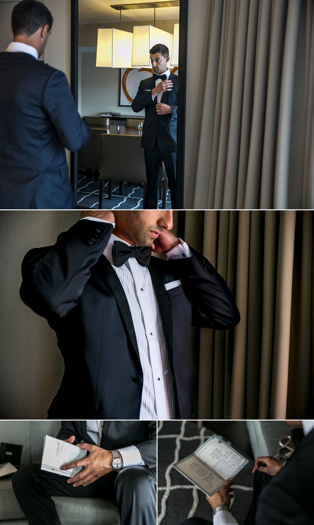 Groom getting ready for his wedding at the Westin hotel in Ottawa