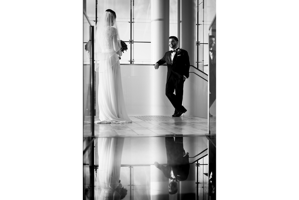 groom reflection with bride ottawa museum of nature wedding