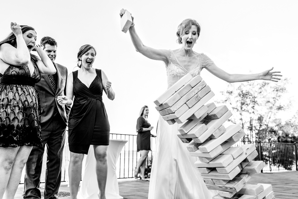 bride plays jenga during wedding reception ottawa