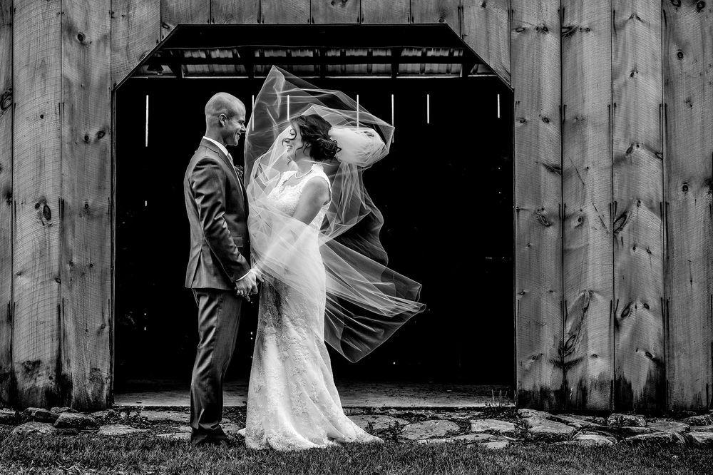 bride groom veil moving barn wedding cornwall ontario