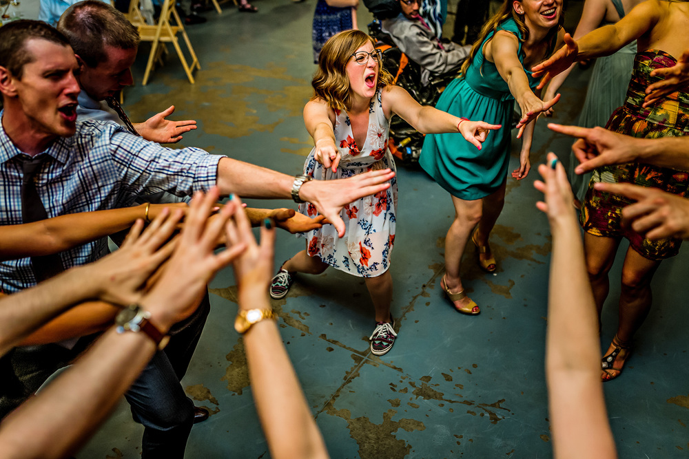guests dancing at a saunders farm wedding