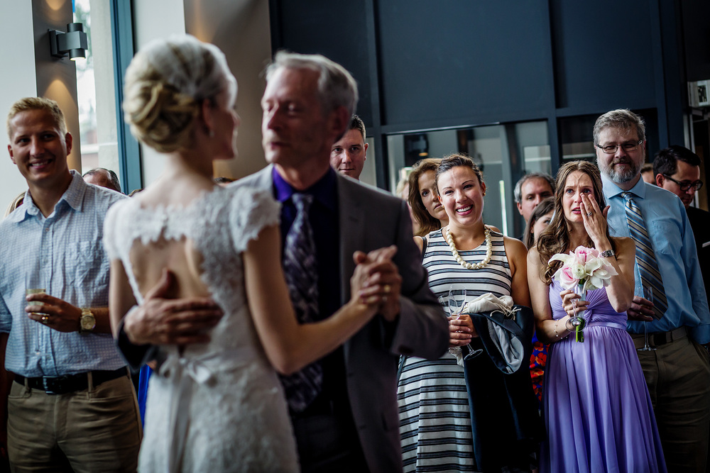 bridesmaids cries while watching the bride dance with her father gezellig wedding ottawa