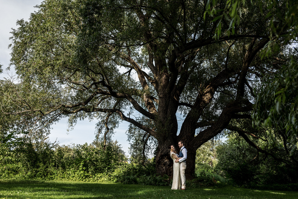 bride and groom portrait by a big tree at the experimental farm ottawa