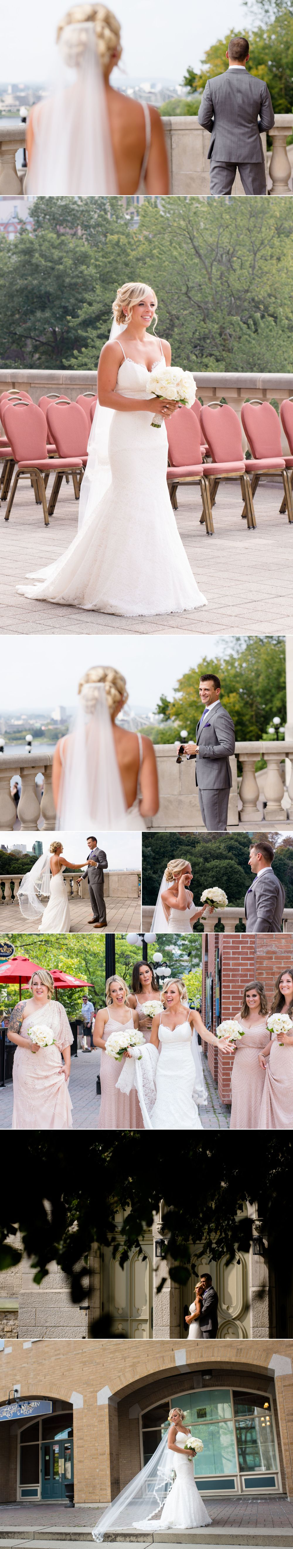 Photos of a groom getting ready and a first look at Le Chateau Laurier