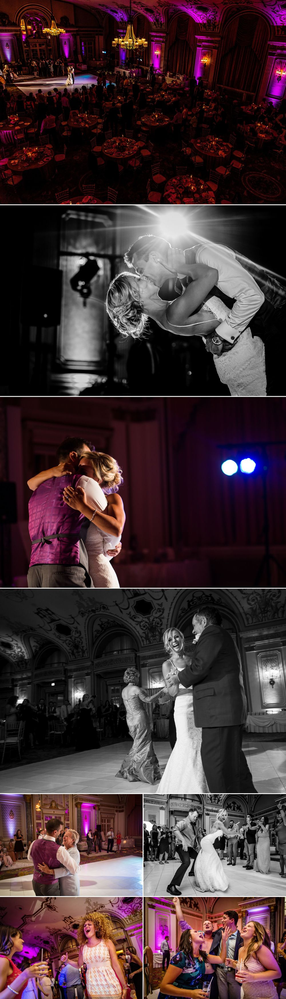 People dancing at a wedding in the ballroom at the chateau laurier in Ottawa