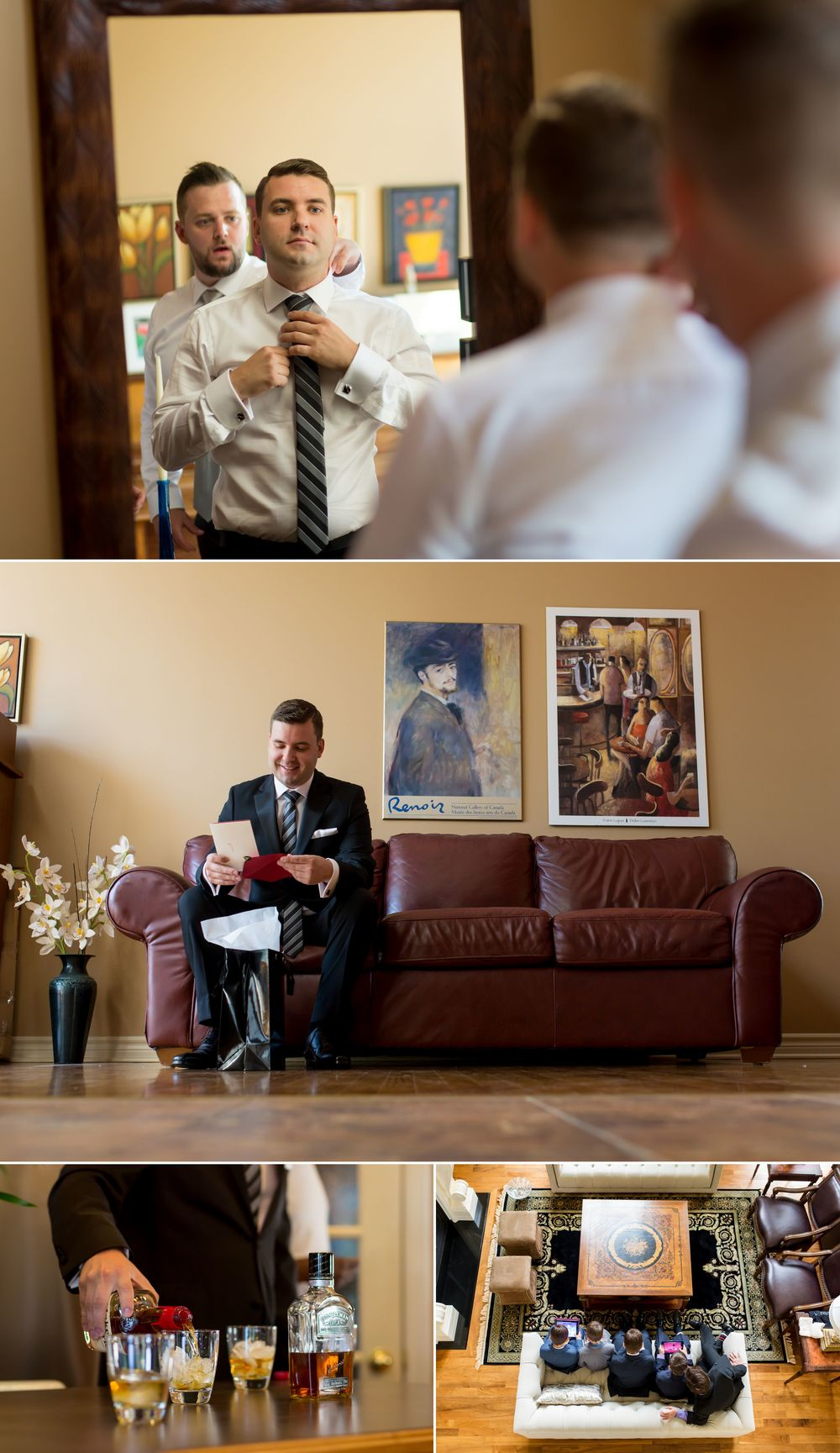 Groom and groomsmen getting ready for a wedding