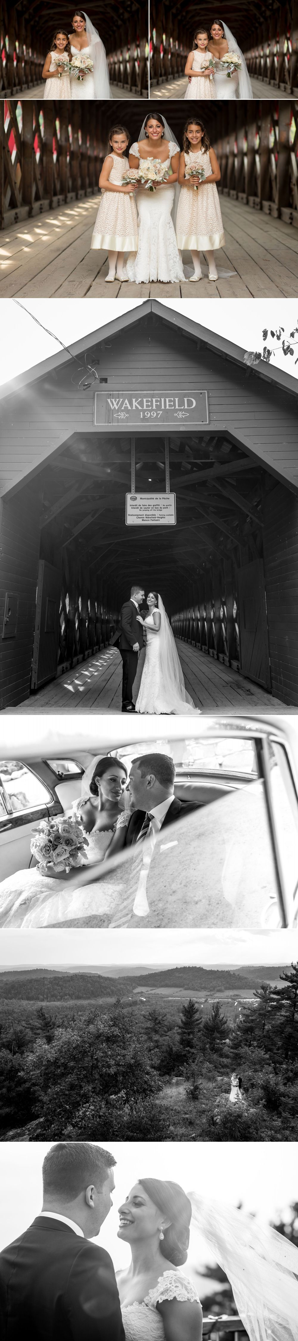 Wedding photos at the covered bridge in wakefield quebec