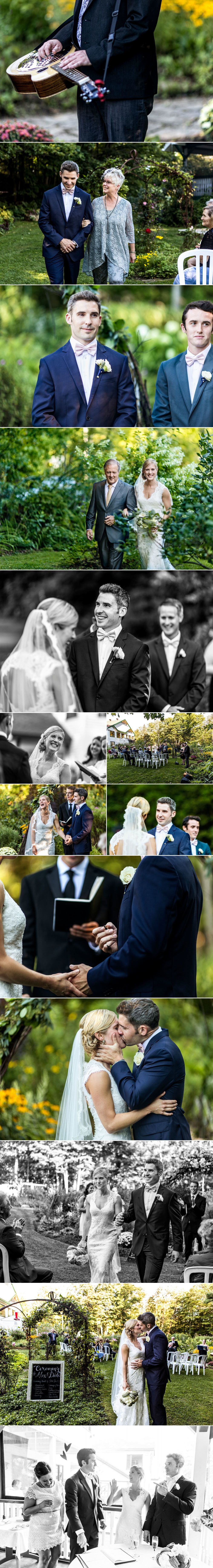 Outdoor cottage wedding ceremony photographs
