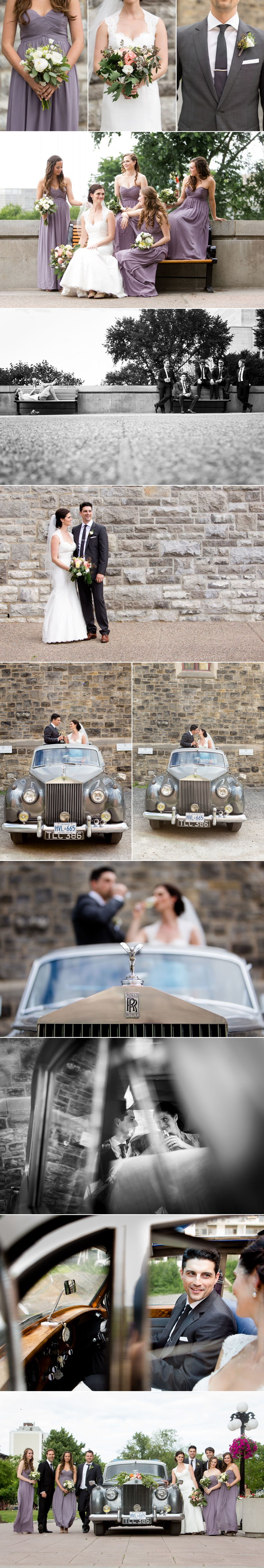 Wedding photographs with a vintage car in downtown ottawa