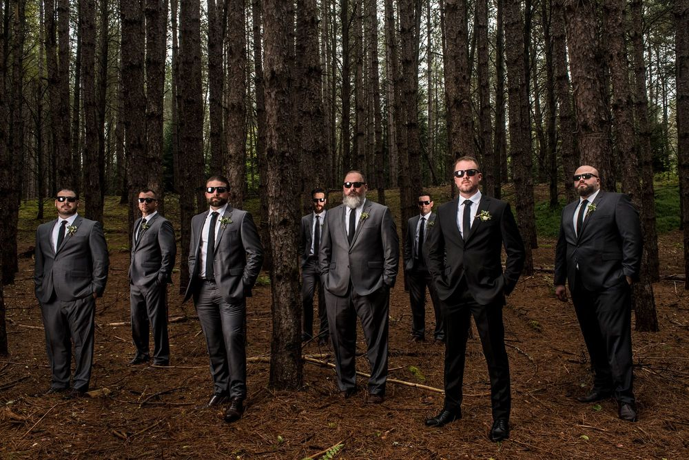 Groomsmen photograph with trees