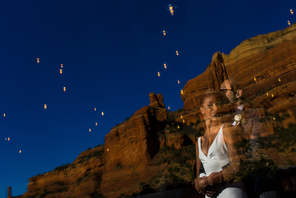 bride and groom portrait inside the enchantment resort restaurant in sedona arizona