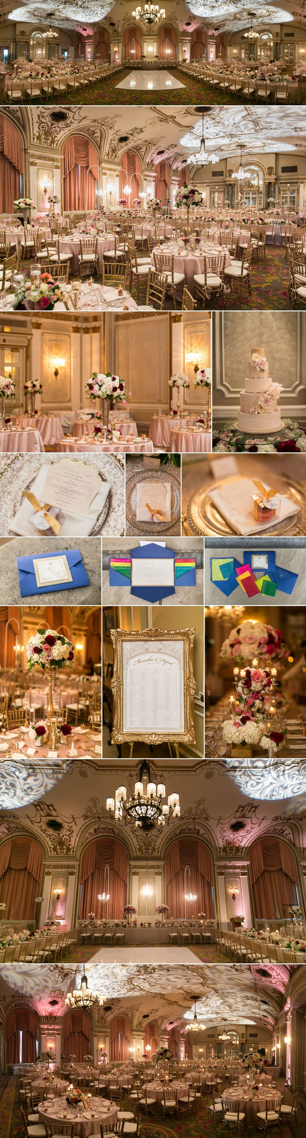 Wedding details and decor in the ballroom at le chateau laurier in ottawa