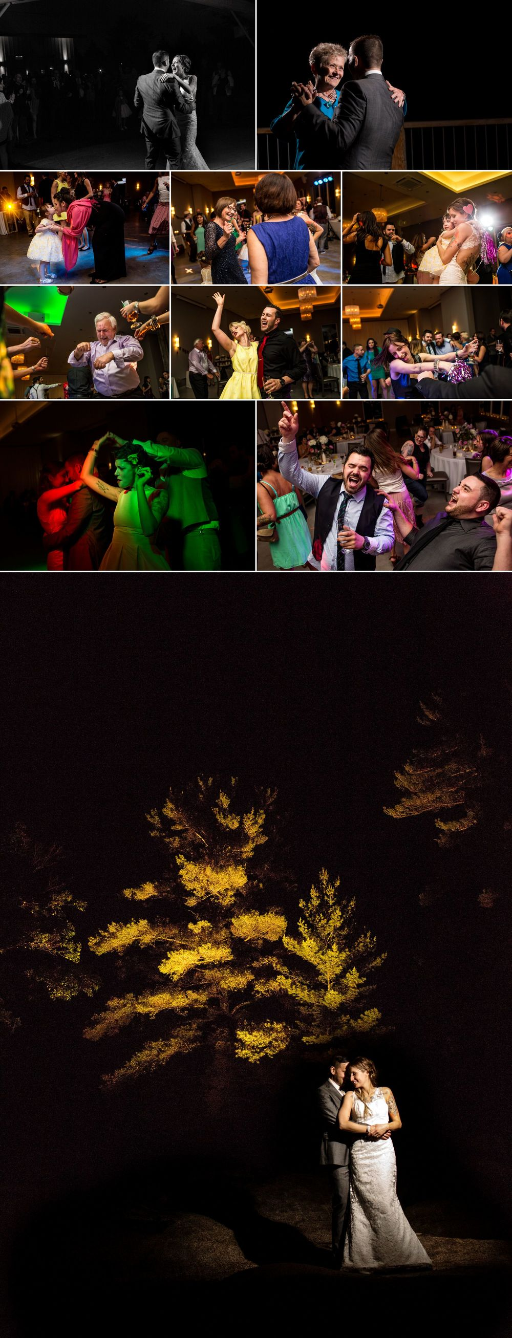 nighttime wedding photographs at le belvedere