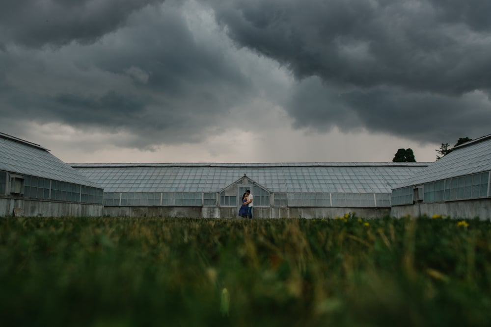 thunderstorm during an engagement shoot at the arboretum