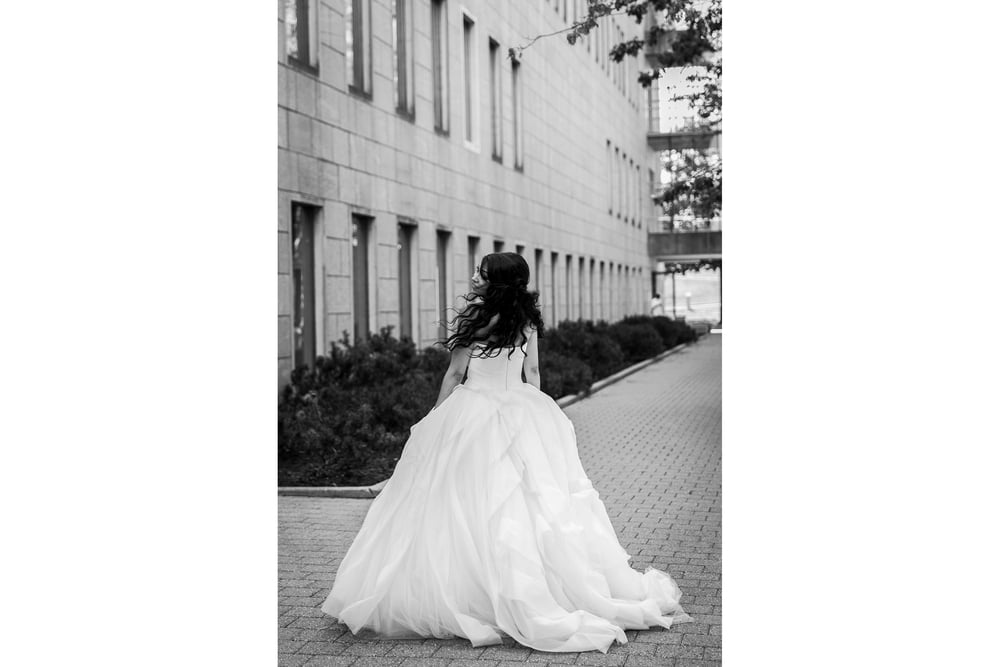 fashion photograph of bride in her wedding dress